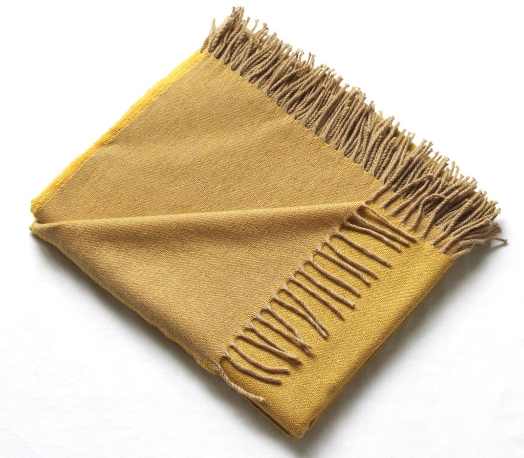 Harlow Henry Harlow Henry Cashmere Collection Throw Mustard With Sand Reverse