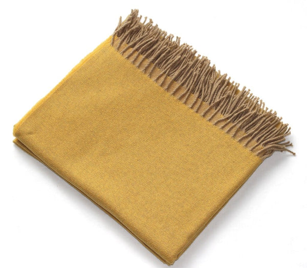 Harlow Henry Cashmere Collection Throw Mustard With Sand Reverse