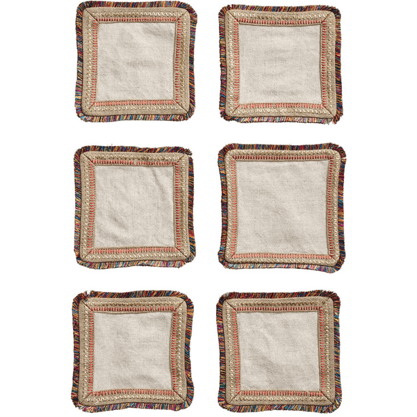 Kim Seybert Spectrum Set Of 6 Cocktail Napkins in Natural,  | Alchemy Fine Home