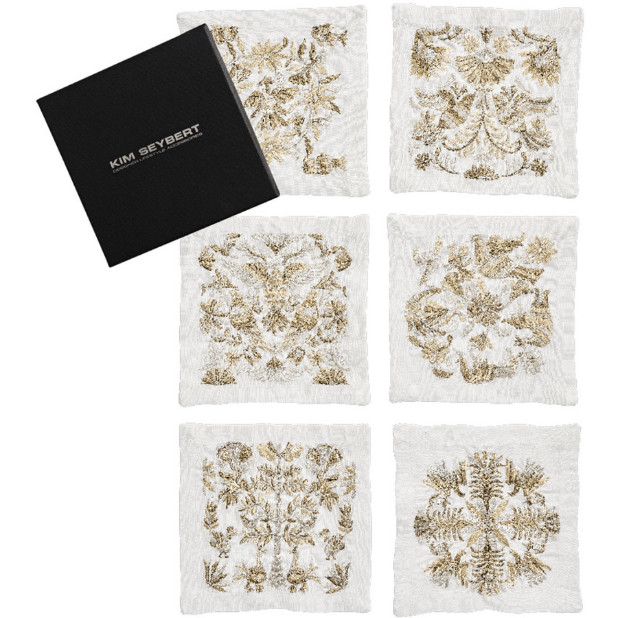 Kim Seybert Otomi Set Of 6 Cocktail Napkins in Gold, Silver | Alchemy Fine Home