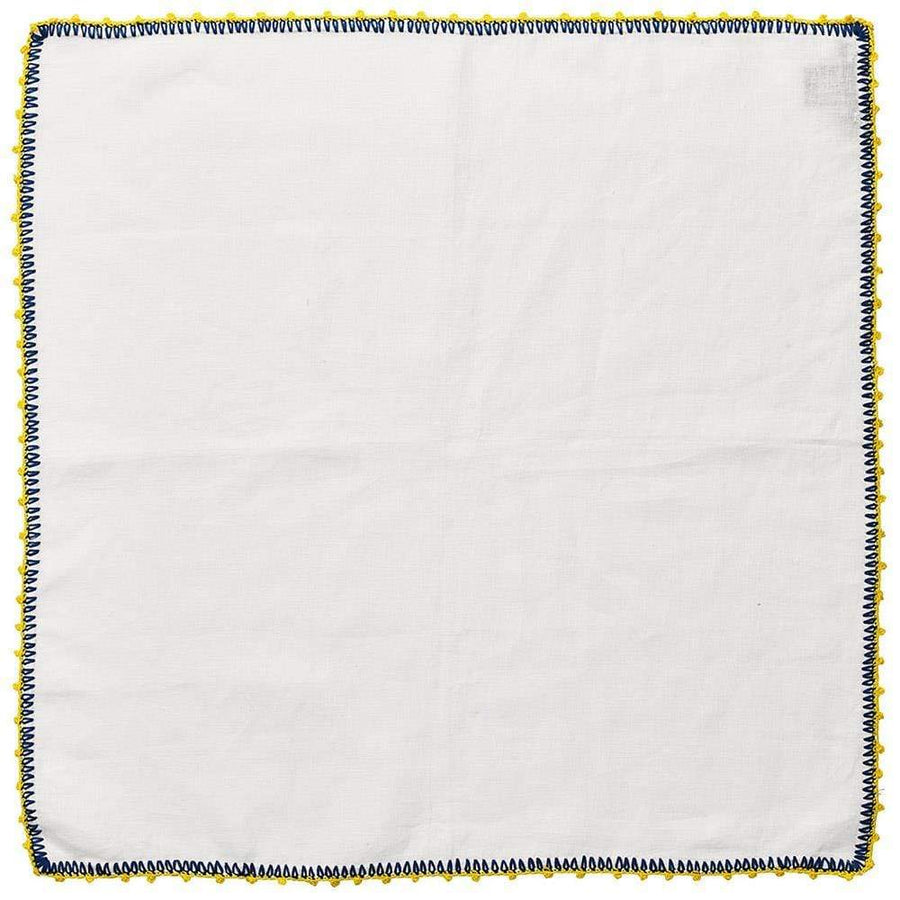 Knotted Edge Napkin in White & Blue & Yellow - Set of 4 by Kim Seybert | Alchemy Fine Home