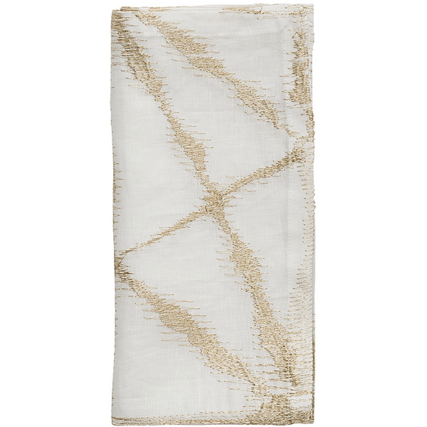 Kim Seybert Luna Napkins in White & Gold | Alchemy Fine Home