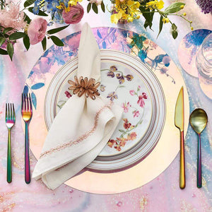 Kim Seybert Kim Seybert Jardin Napkin in White & Blush - Set of 4 NA1201035WHBLU