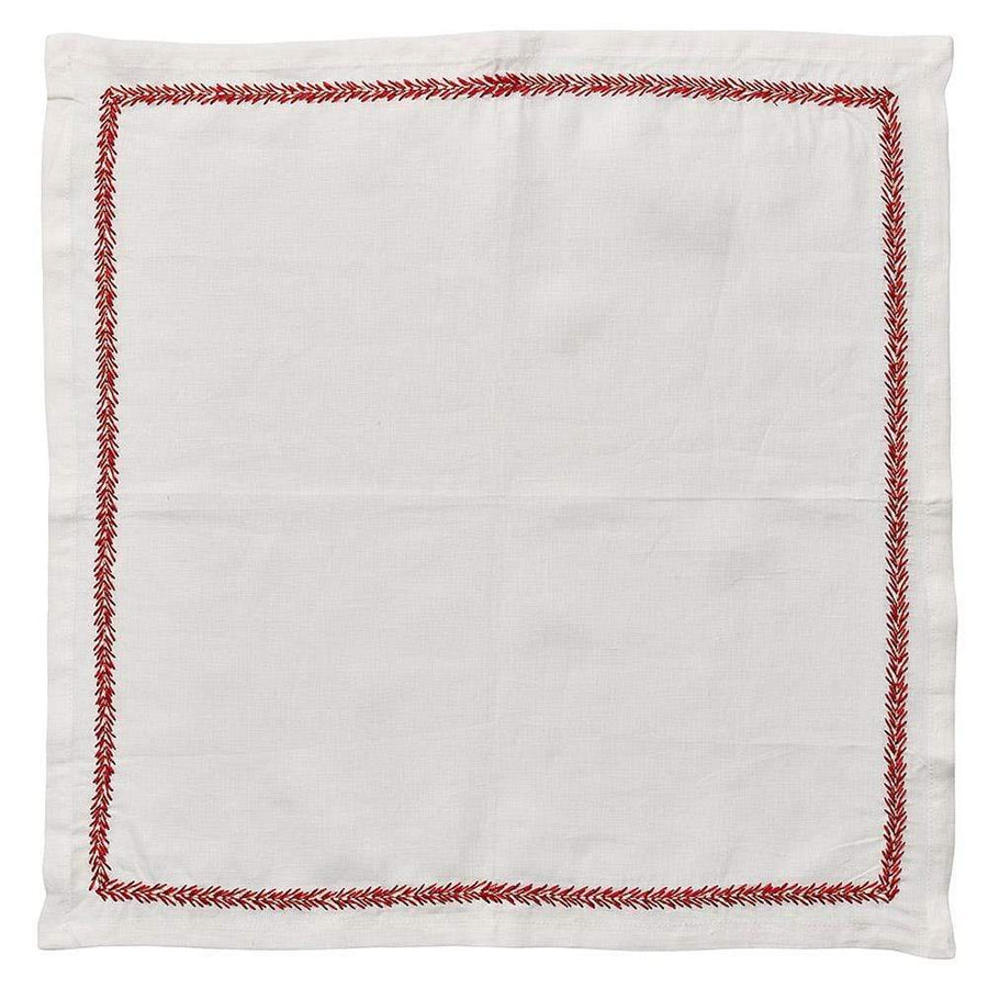 Jardin Napkin in White & Coral - Set of 4 by Kim Seybert | Alchemy Fine Home