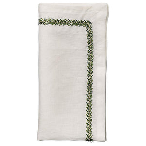Jardin Napkin in White & Green - Set of 4 by Kim Seybert | Alchemy Fine Home