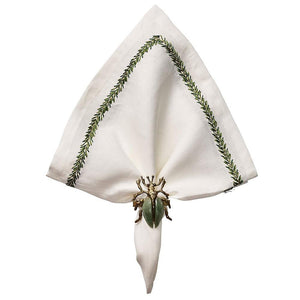 Kim Seybert Jardin Napkin in White & Green - Set of 4