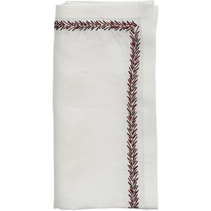 Kim Seybert Kim Seybert Jardin Napkins in White & Red – Set of 4 NA1201035WHRD