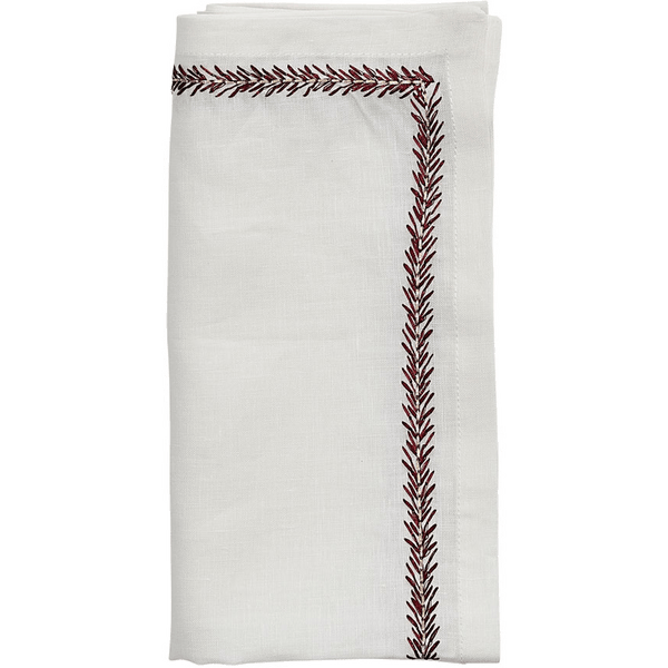 Kim Seybert Jardin Napkins in White & Red | Alchemy Fine Home