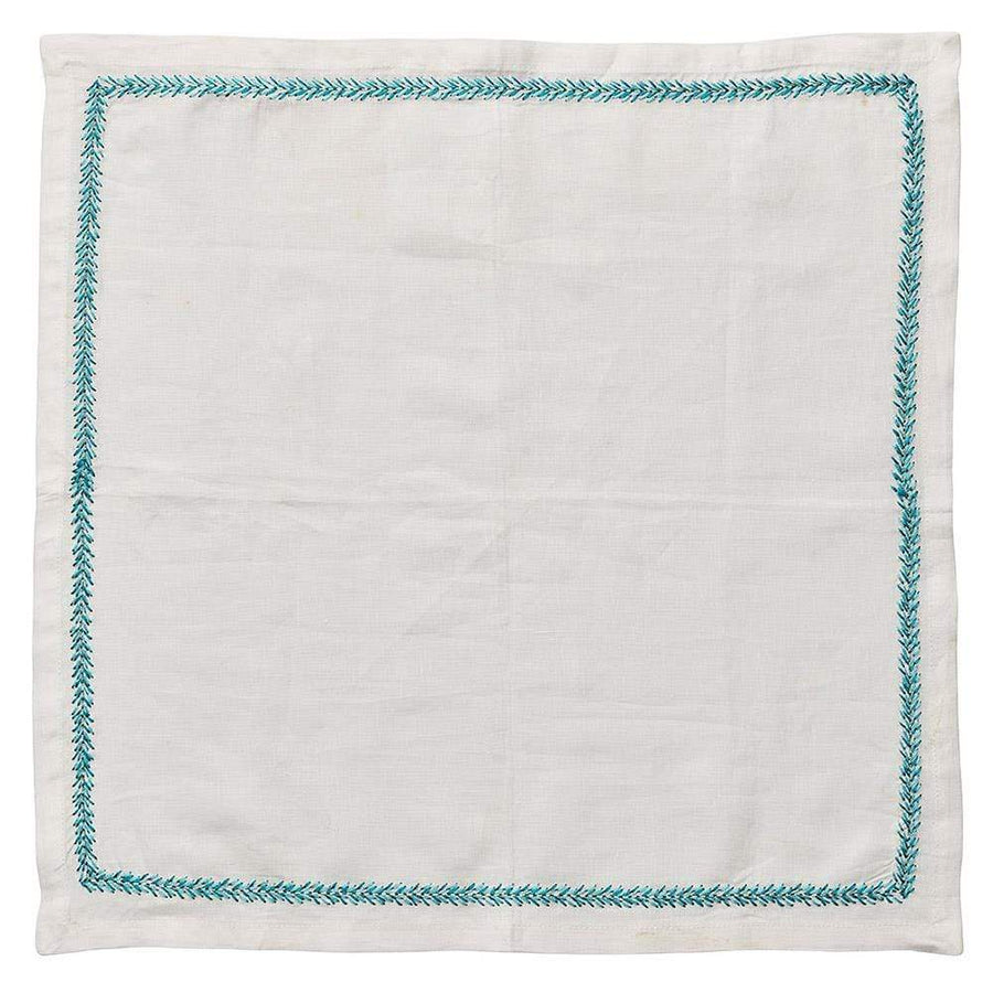 Jardin Napkin in White & Turquoise - Set of 4 by Kim Seybert | Alchemy Fine Home
