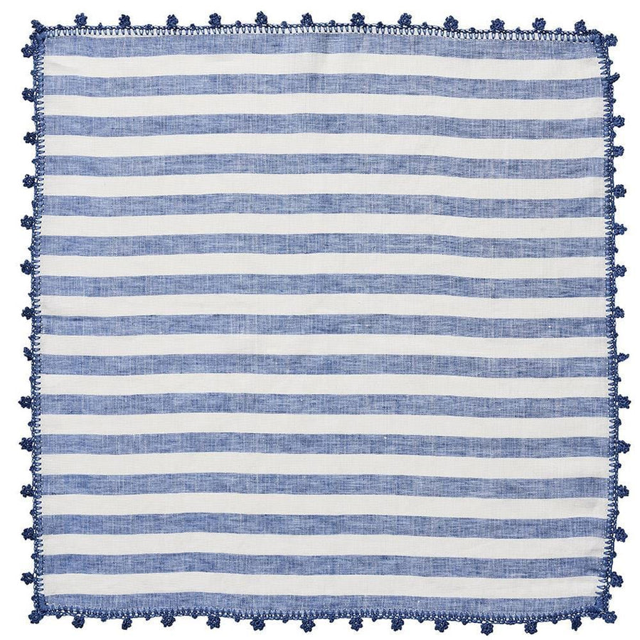 Kim Seybert Kim Seybert Linea Napkin in White & Blue - Set of 4 NA1201330WHBL
