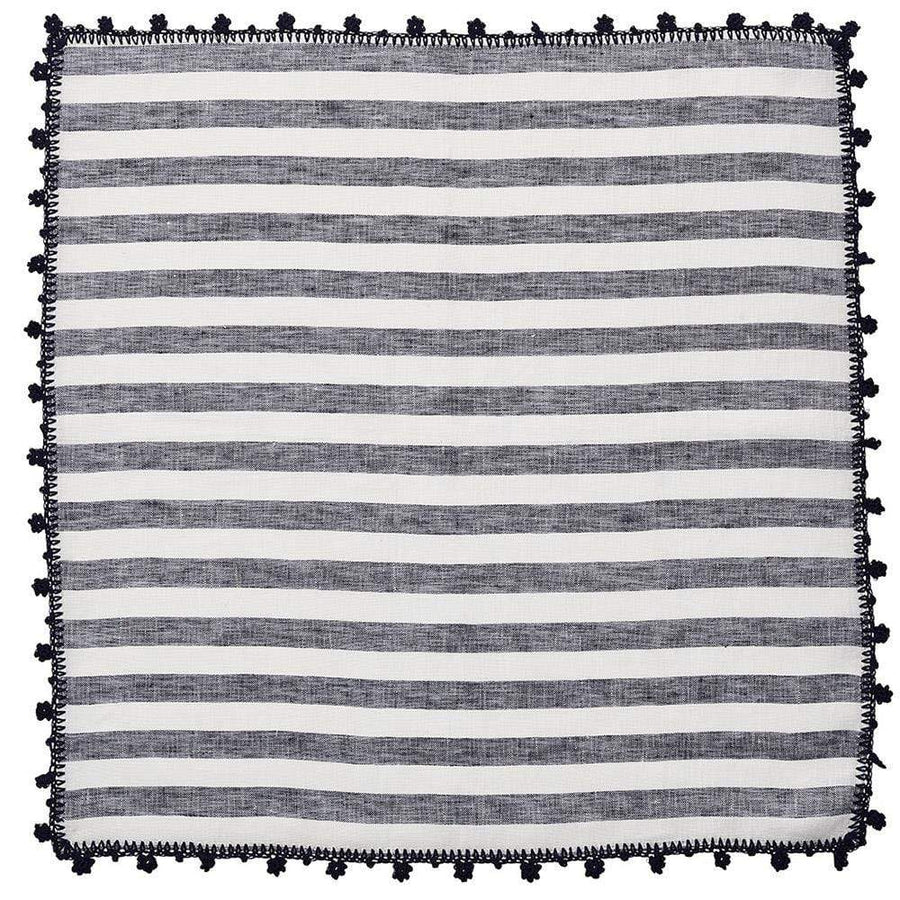 Kim Seybert Kim Seybert Linea Napkin in White & Navy - Set of 4 NA1201330WHNVY