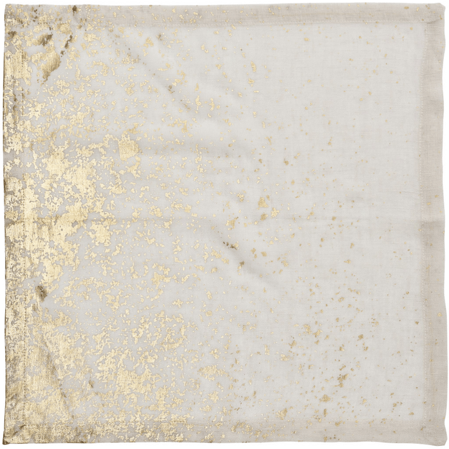 Kim Seybert Metafoil Napkins in White & Gold | Alchemy Fine Home