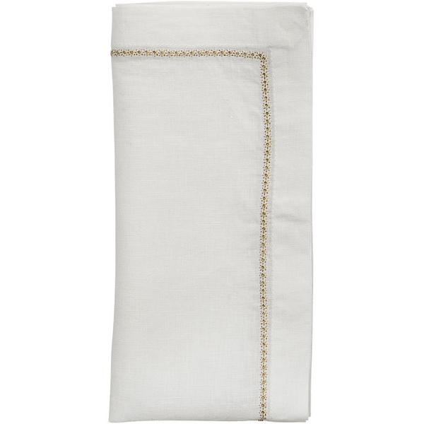 Kim Seybert Star Napkins in White & Gold | Alchemy Fine Home