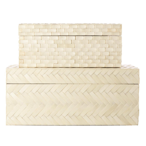 Tozai Home Set of 2 Basketweave Bone Boxes | Alchemy Fine Home