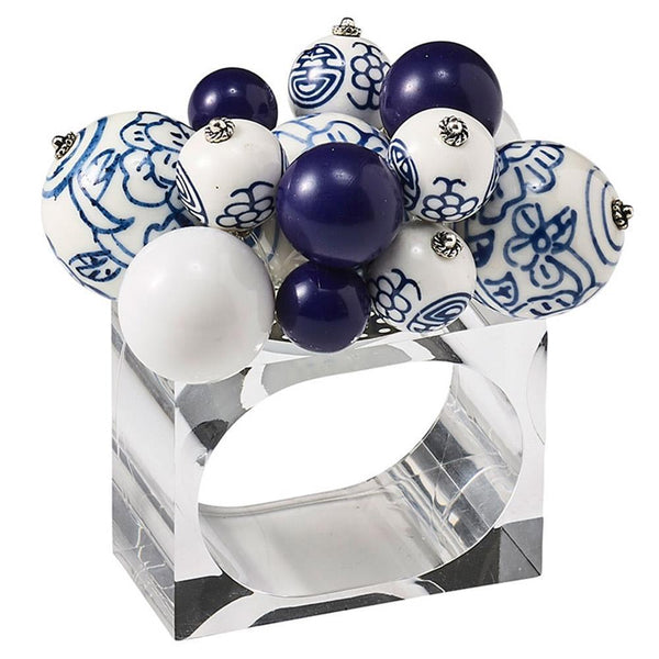 Cloud Napkin Ring in White & Blue - Set of 4 by Kim Seybert | Alchemy Fine Home