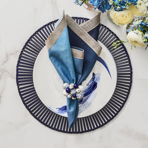 Kim Seybert Cloud Napkin Ring in White & Blue - Set of 4