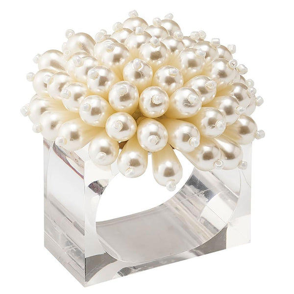 Kim Seybert Zinnia Napkin Ring in Pearl - Set of 4 NR2192039PEARL