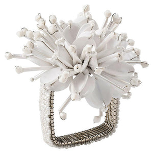 Kim Seybert Kim Seybert Starburst Napkin Ring in White - Set of 4 NR2192048WHT
