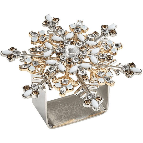 Kim Seybert Snowflake Set Of 4 Napkin Ring in Silver & Gold | Alchemy Fine Home