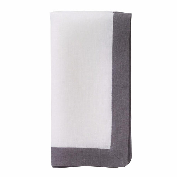 Bodrum Bodrum Orta Napkin - White & Charcoal - Set of 4 ORT0174p4