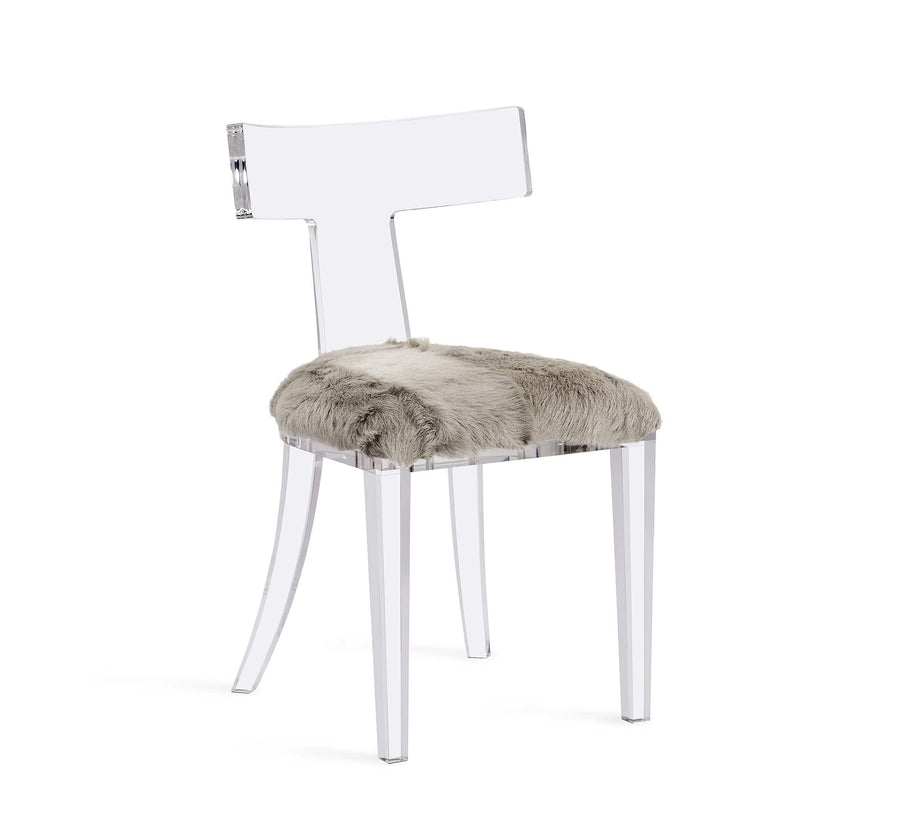 Interlude Home Tristan Acrylic Klismos Chair in Clear Finish - Light Grey Upholstery