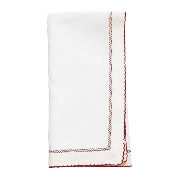 Bodrum Bodrum Picot Napkin - White & Red - Set of 4 PCT0111p4