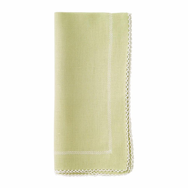 Bodrum Bodrum Picot Napkin - Willow & White - Set of 4 PCT2301p4