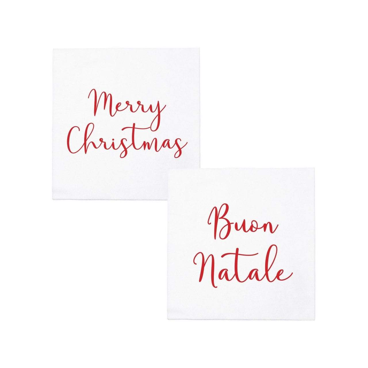 Vietri Vietri Papersoft Cocktail Napkins - Merry Christmas Buon Natale Merry Christmas/Buon Natale / Pack of 20 PPS-6051MC