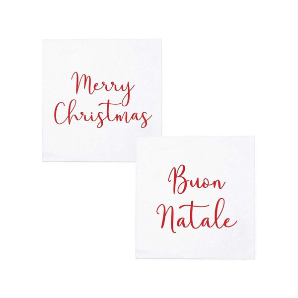 Vietri Papersoft Cocktail Napkins - Merry Christmas Buon Natale