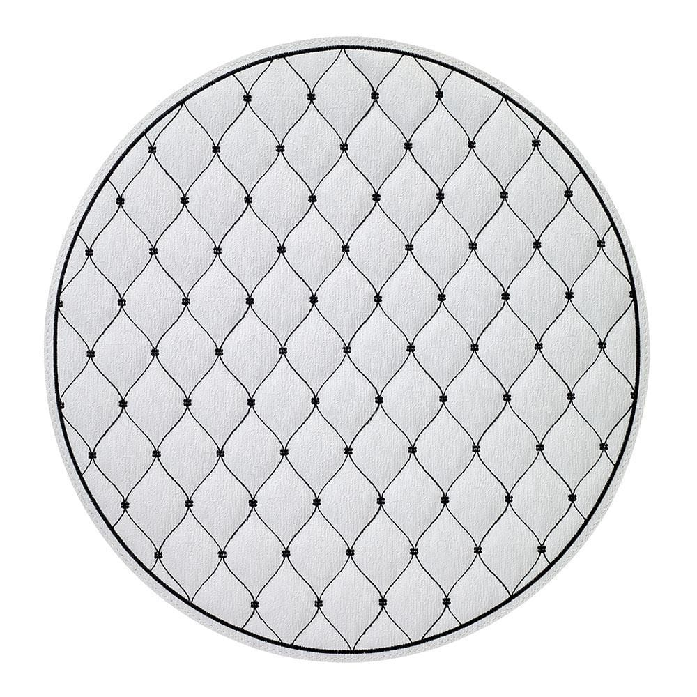 Bodrum Quilted Diamond Placemat - White & Black - Set of 4