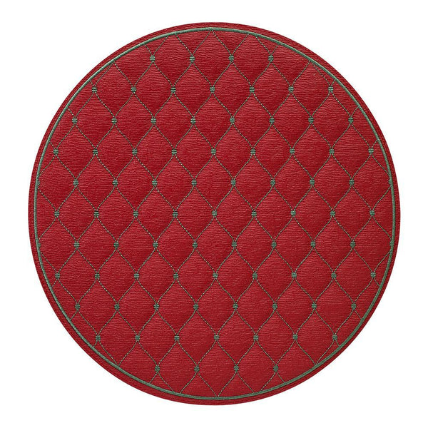 Bodrum Bodrum Quilted Diamond Placemat - Red & evergreen - Set of 4 QUD8708P