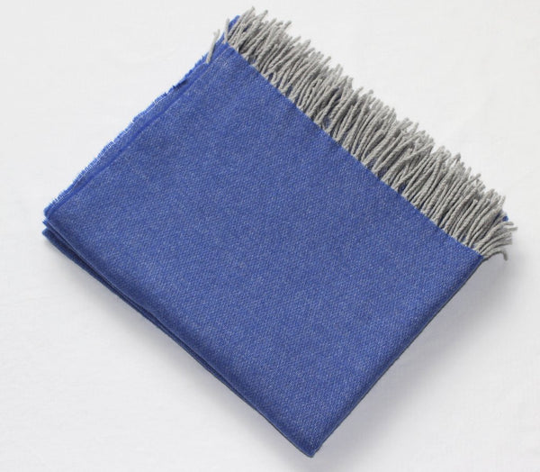 Harlow Henry Cashmere Collection Throw Royal Blue With Grey Reverse