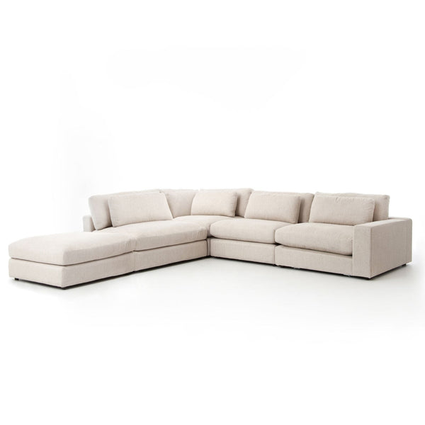Four Hands Bloor 4 Pc Raf Sectional W/Ottoman - Essence Natural | Alchemy Fine Home