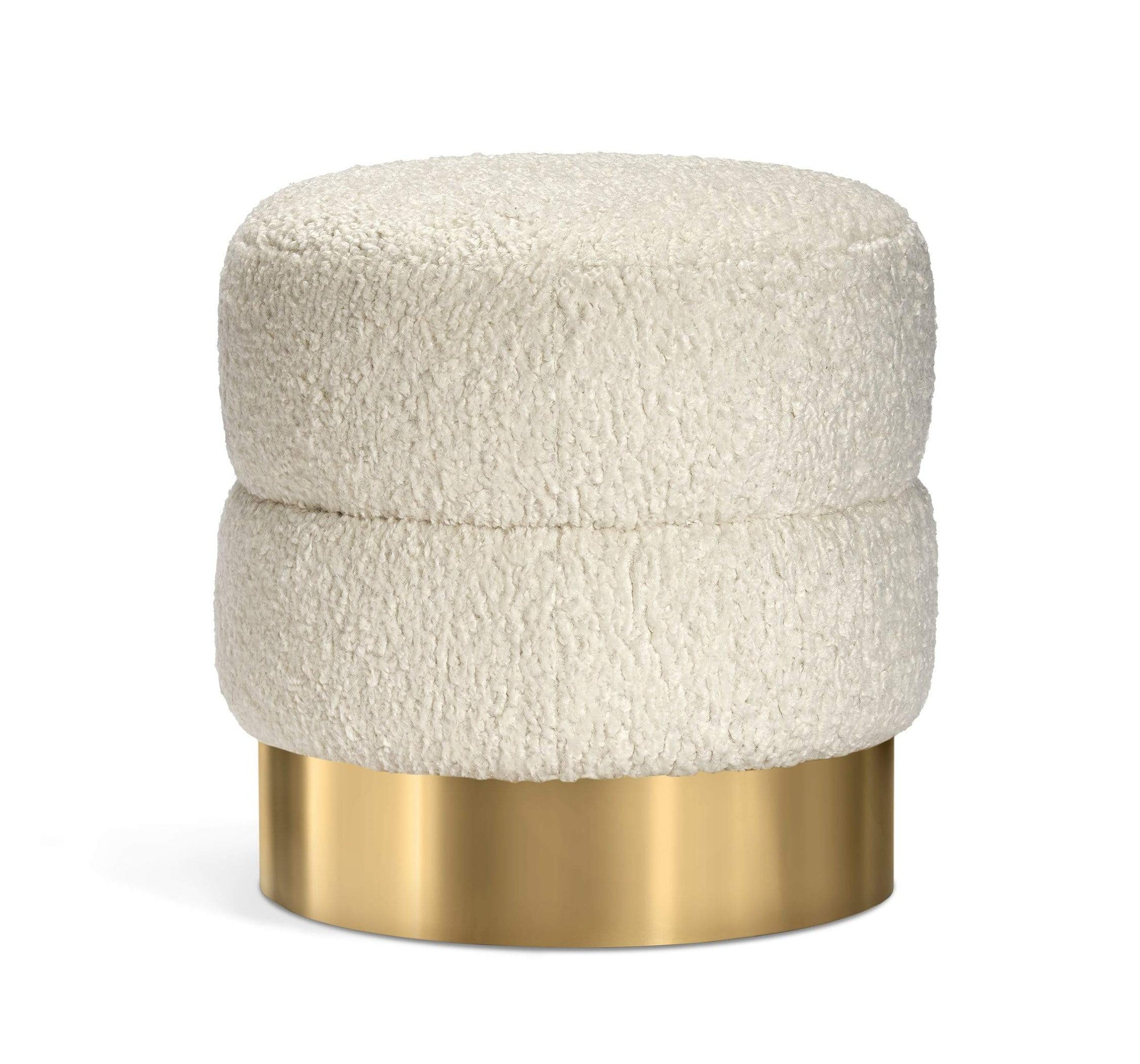 Interlude Home Interlude Home Charlize Stool - Polished Brass & Cream 188168