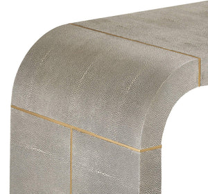 Interlude Home Interlude Home Sutherland Console Table - Grey Shagreen & Brushed Brass 139054
