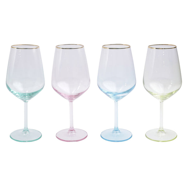 Vietri Rainbow Assorted Wine Glasses - Set of 4