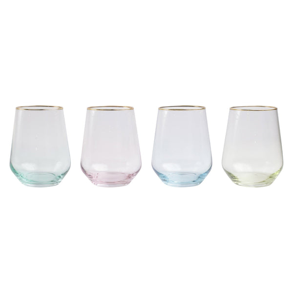 Vietri Rainbow Assorted Stemless Wine Glasses - Set of 4