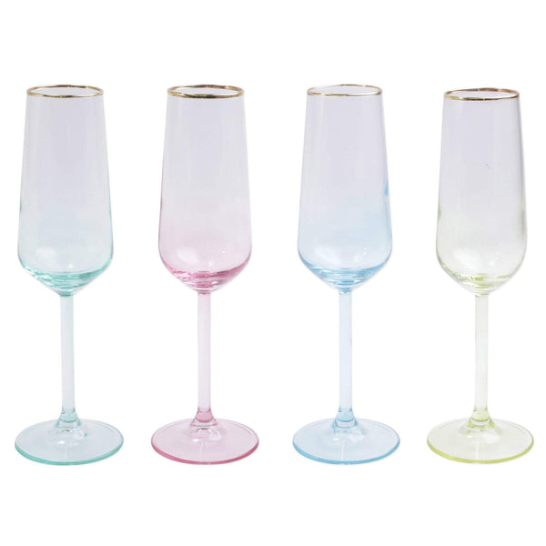 Vietri Rainbow Assorted Champagne Flutes - Set of 4