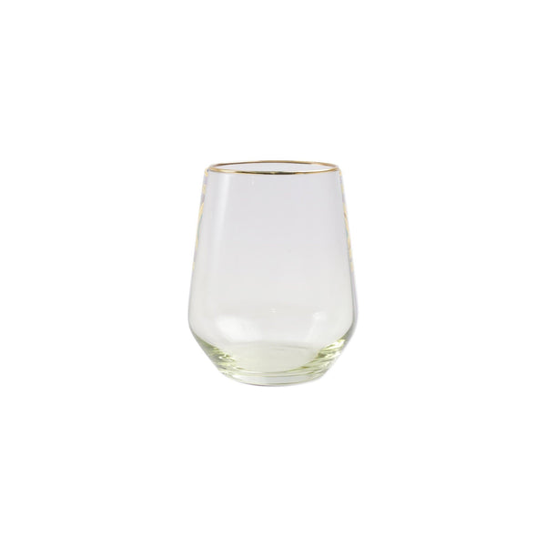 Vietri Rainbow Green Stemless Wine Glass
