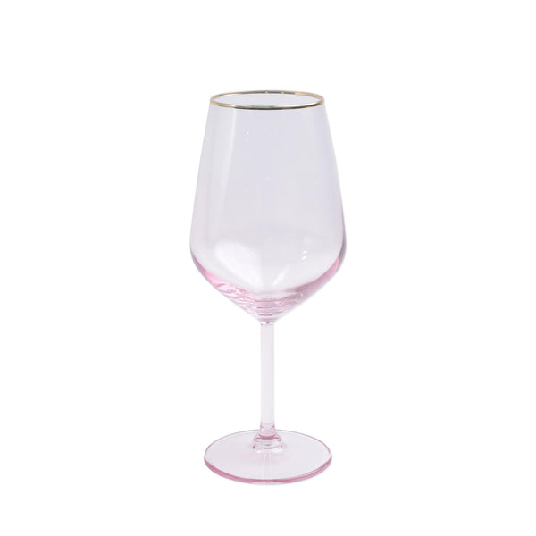 Vietri Rainbow Pink Wine Glass
