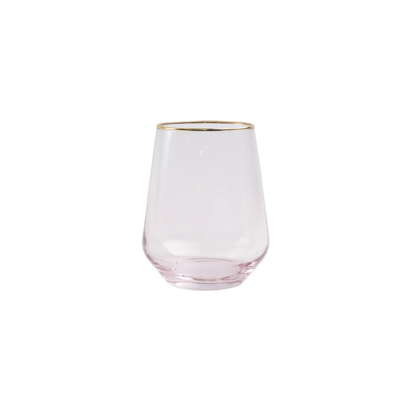 Vietri Rainbow Pink Stemless Wine Glass
