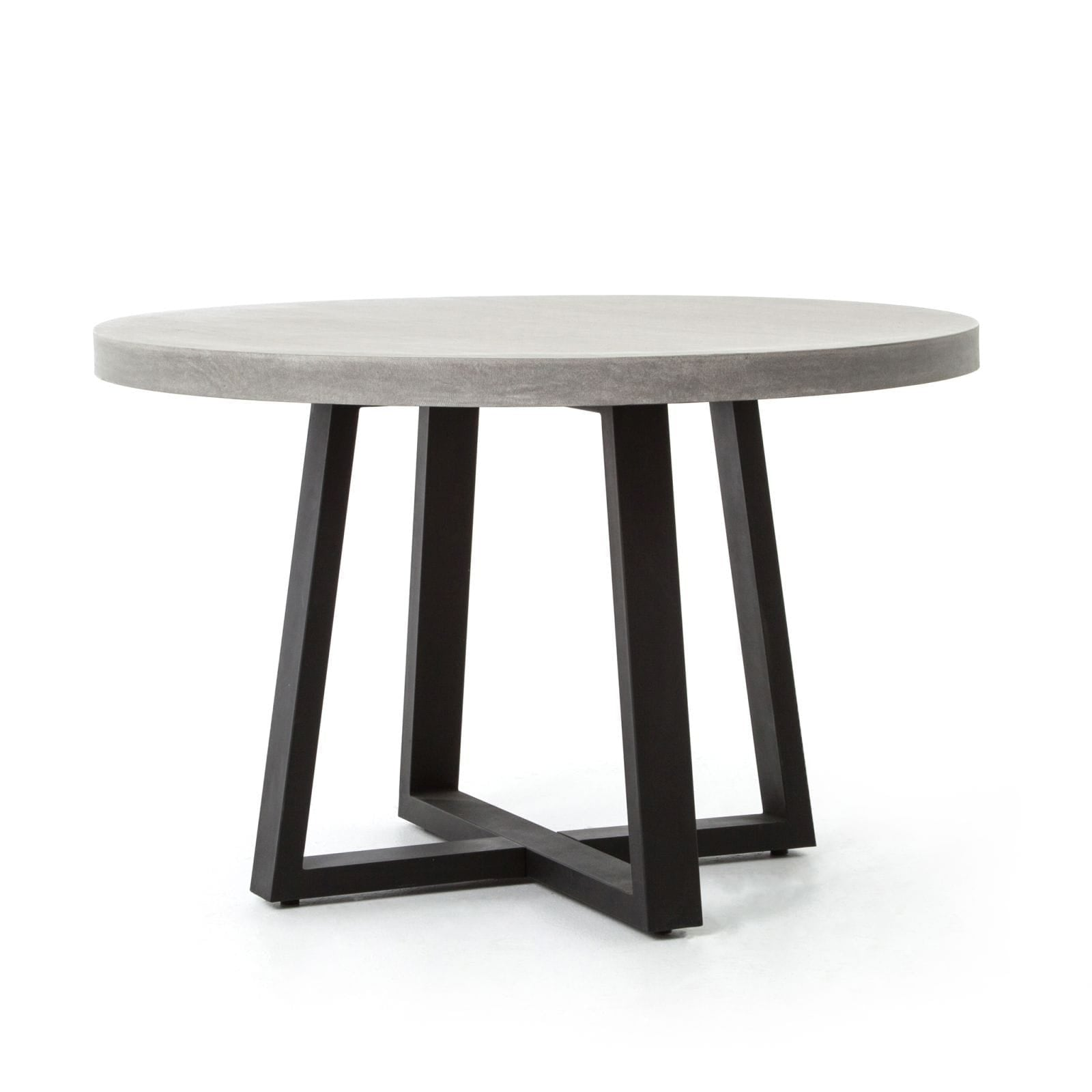 Four Hands Cyrus Round Dining Table - Black, Light Grey - 48