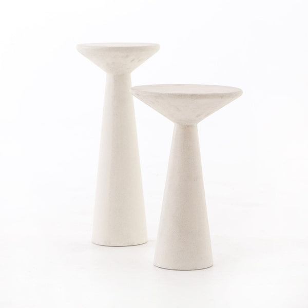 Four Hands Ravine Concrete Accent Tables Set Of 2 - Parchment White | Alchemy Fine Home
