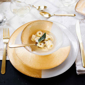 Vietri Vietri Two-Tone Glass White and Gold Dinner Plate TTG-W5200