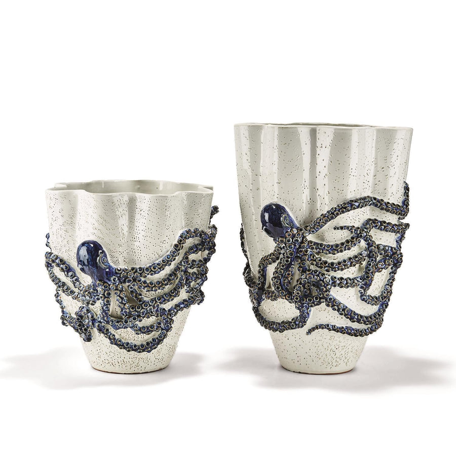 Tozai Home Wht and Blue Set of 2 Octopus Vase | Alchemy Fine Home