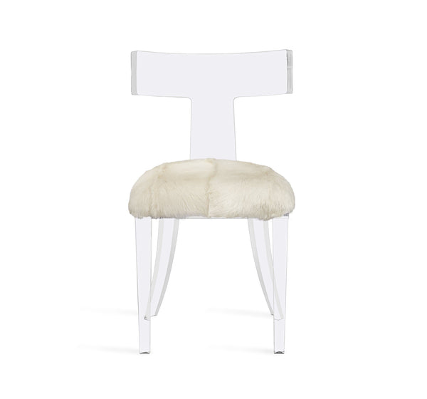 Interlude Home Tristan Acrylic Klismos Chair in Clear Finish - Ivory Upholstery