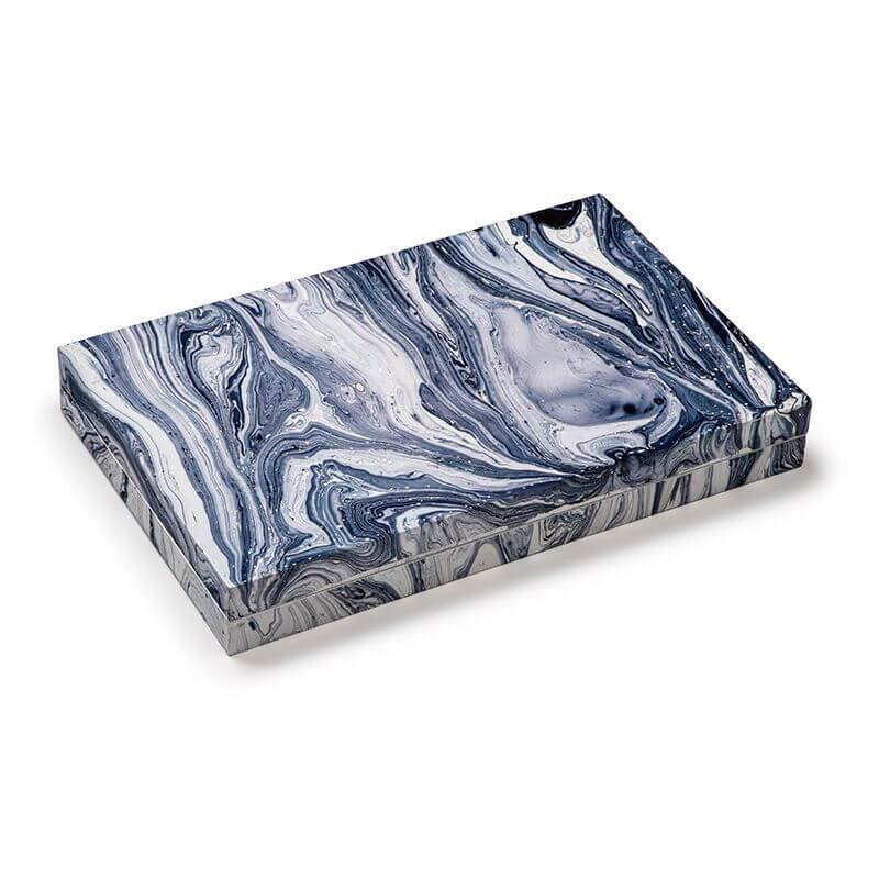 Aurosi Aurosi Blue Wavy Marble Backgammon Set 1761A