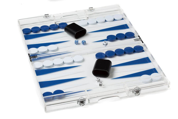 Aurosi Aurosi Mini Travel Blue and White Acrylic Backgammon Set 1665A