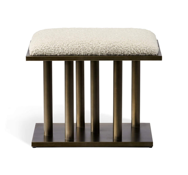 Interlude Home Celeste Stool Antique Bronze Finish - Cream Upholstery