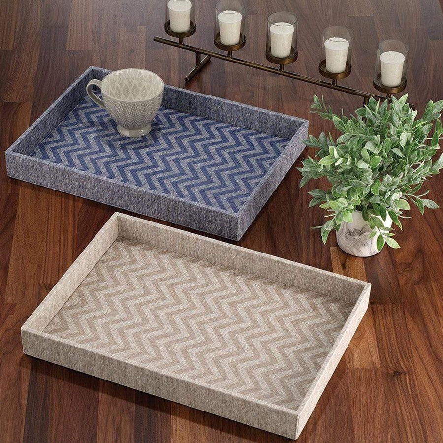 Bodrum Chevron Tray - Navy